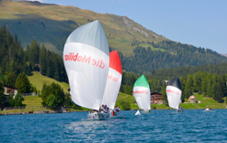 J/70s sailing on Swiss mountain lake- Davos, Switzerland