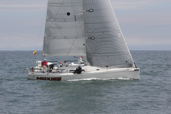 J/122 sailing off Bermuda Race start in Newport, RI