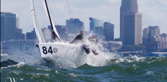 J/70 sailing upwind on Lake Erie