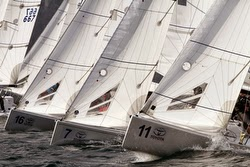 J/70s sailing on Lake Garda, Italy- Europeans