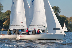 J/22s sailing on Alster Lake, Hamburg, Germany