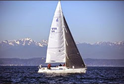 J/105 sailing on Puget Sound off Seattle, WA