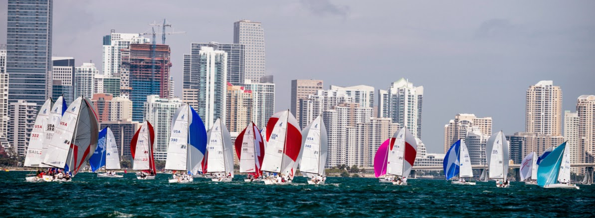 J/70s sailing downwind at Bacardi Miami Sailing Week