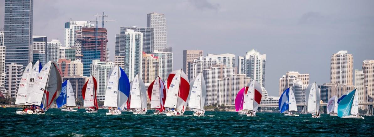 J/70s sailing downwind at Bacardi Miami Sailing Week