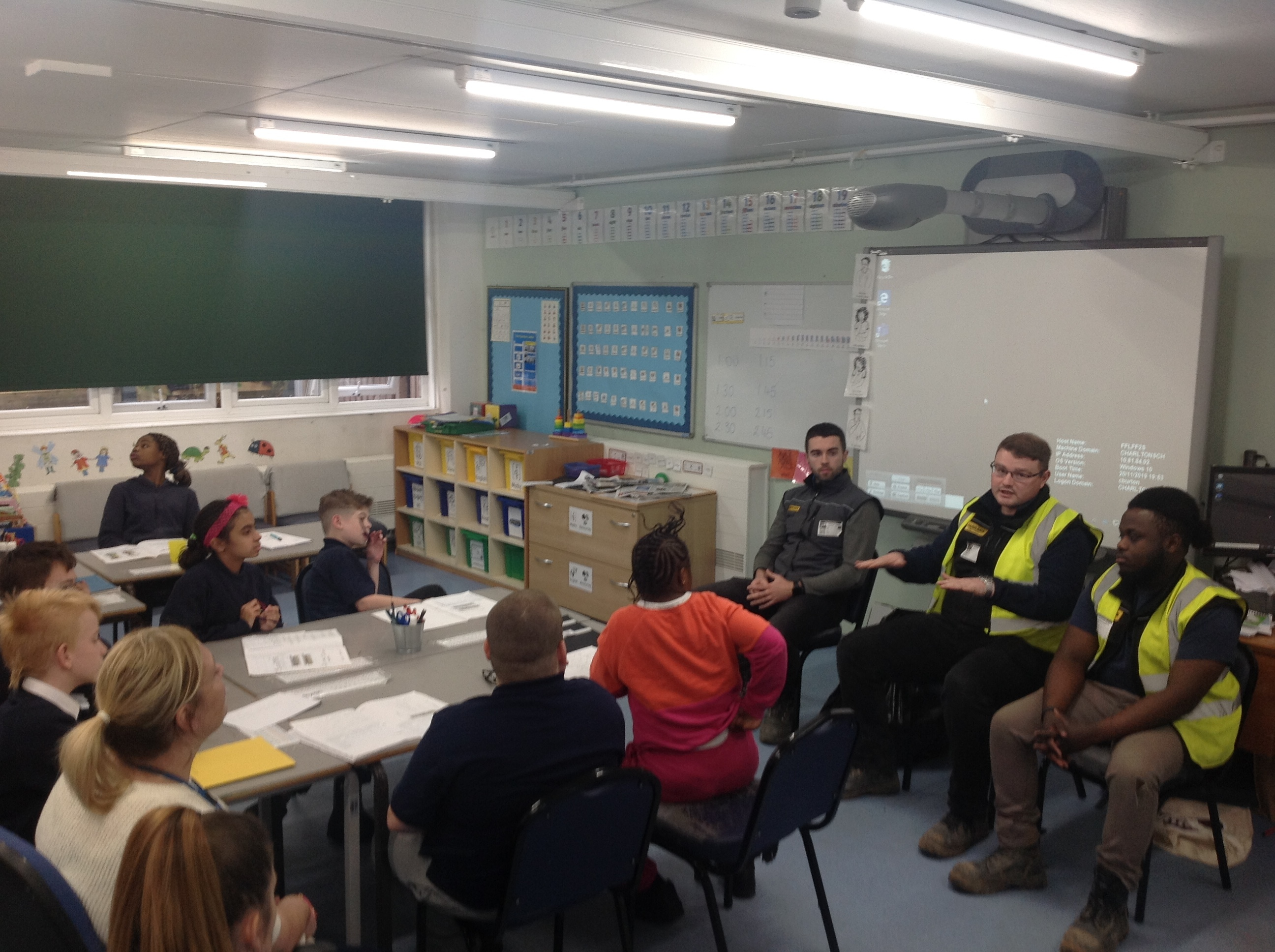 Builders talking to students