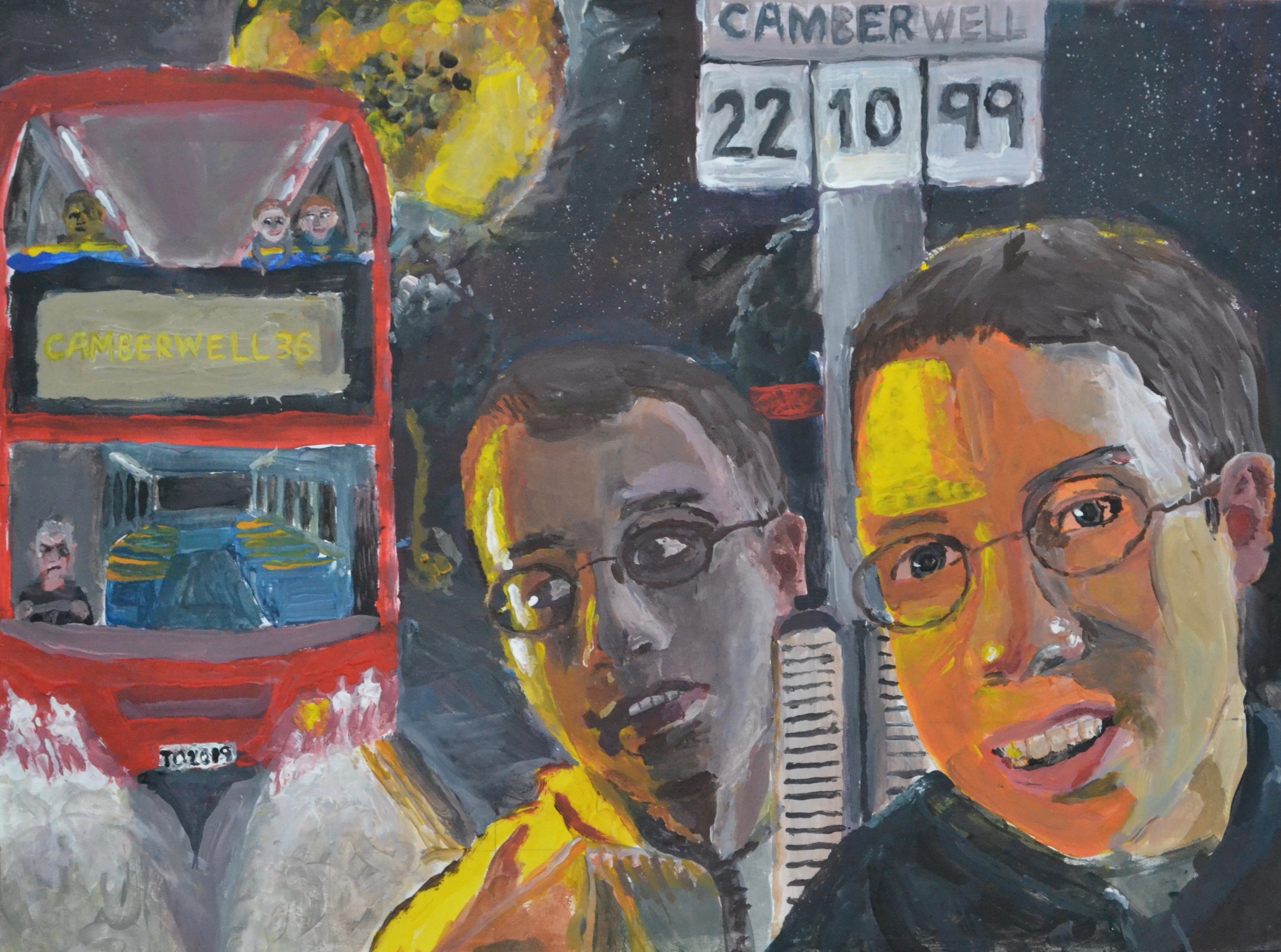 Painting of twins in Camberwell
