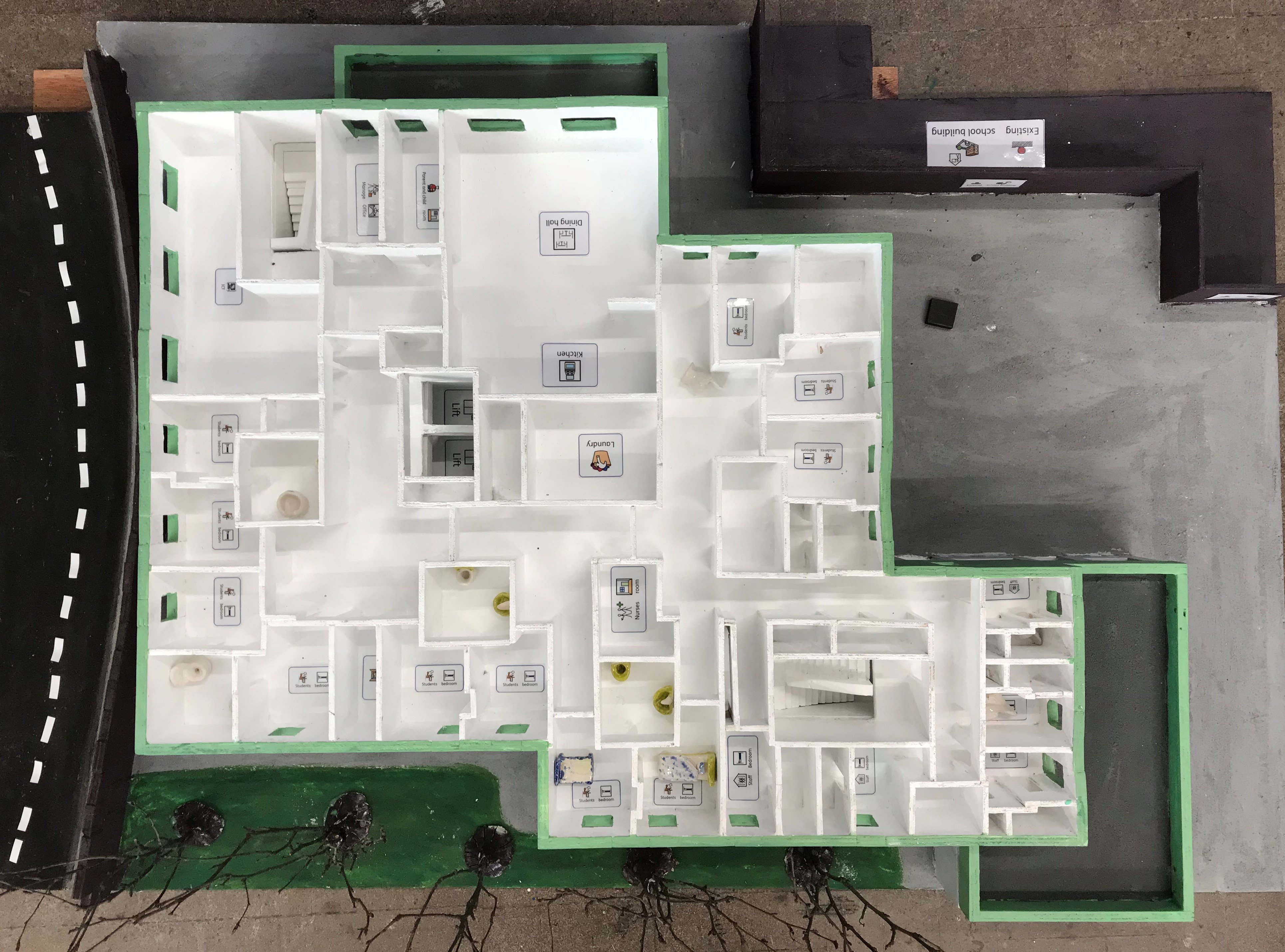 Ariel view of inside of architect model