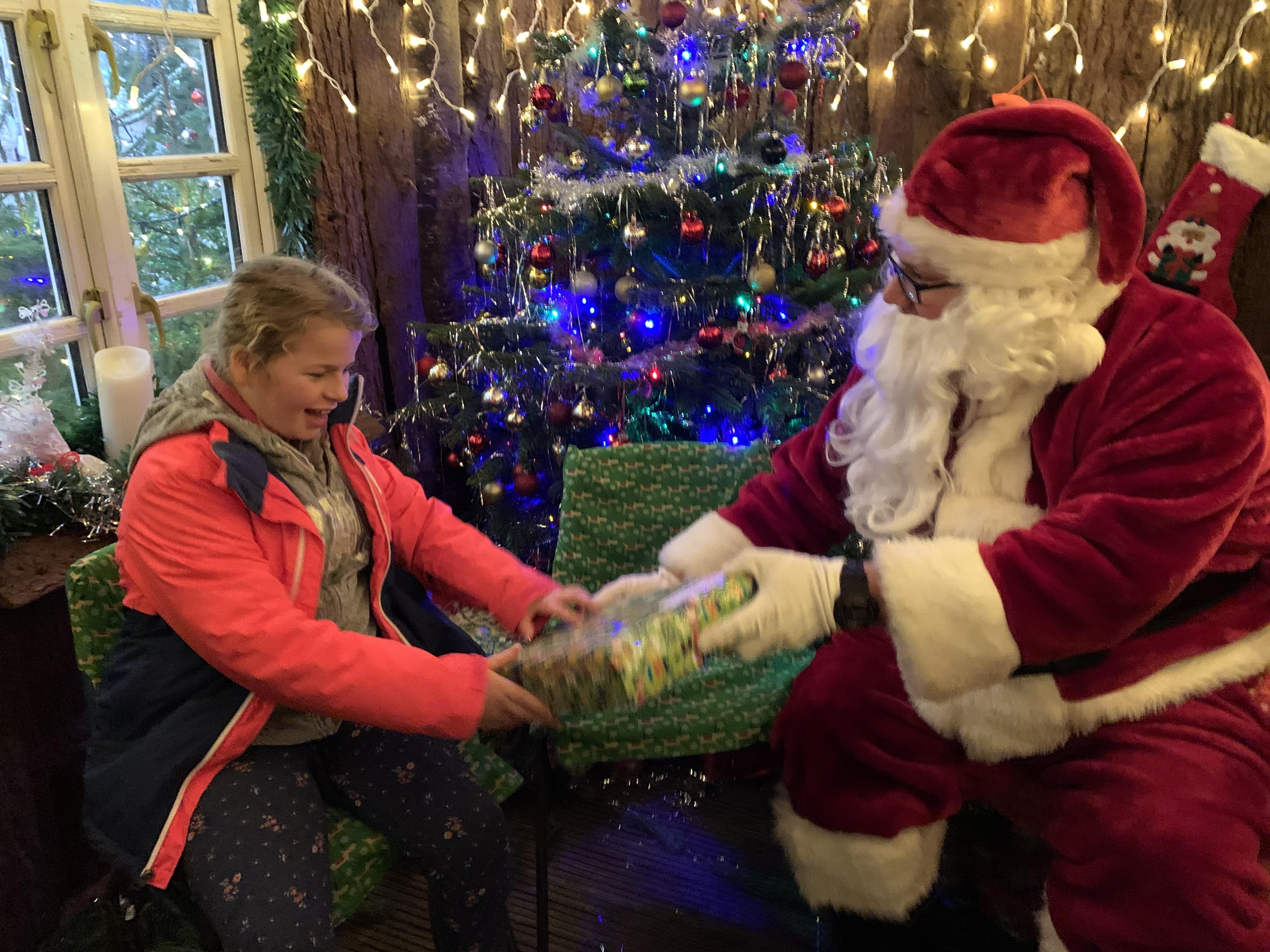 Girl with Father Christmas