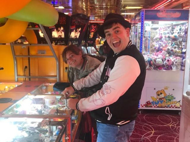 Student in a Hastings arcade