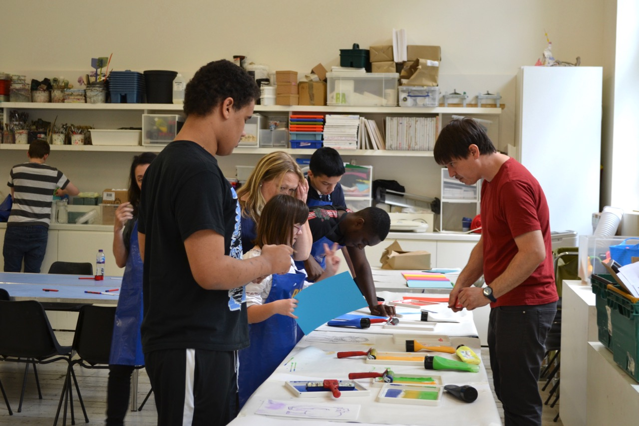 Students at an art workshop