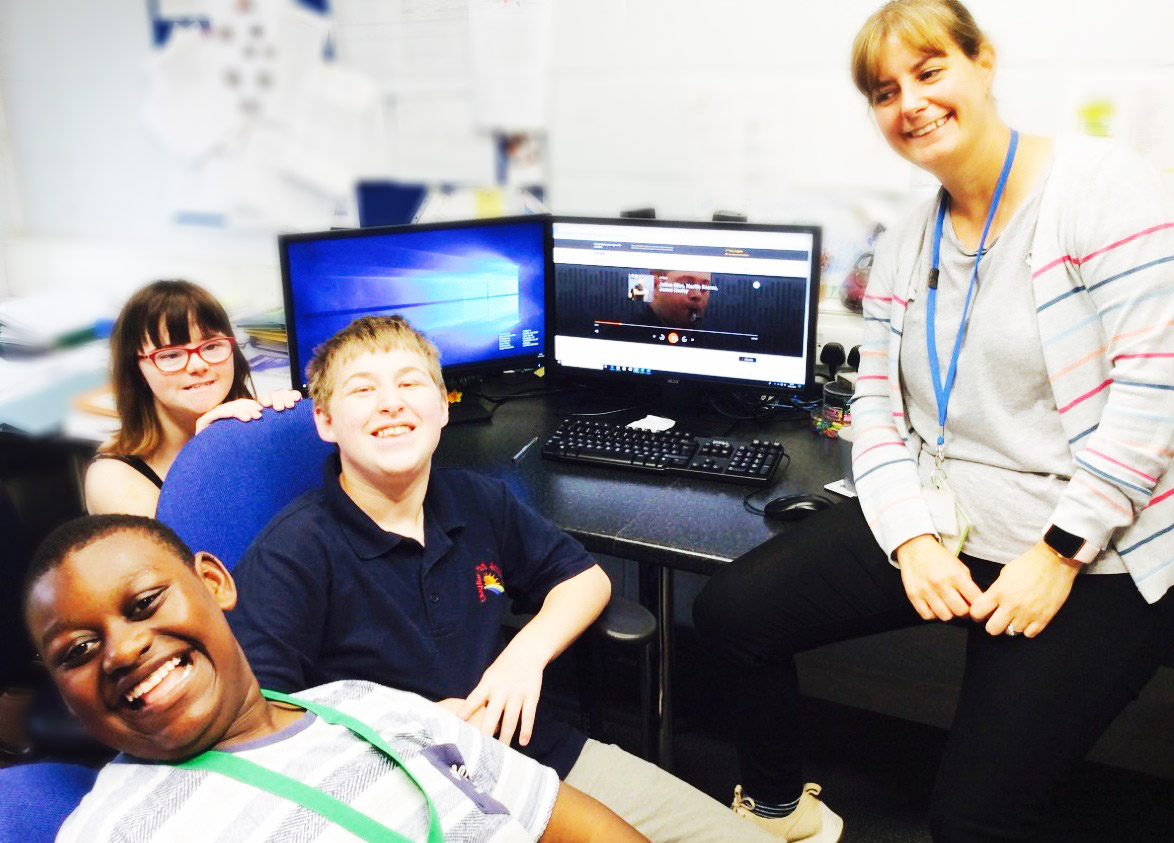 Students listening to iplayer via a computer