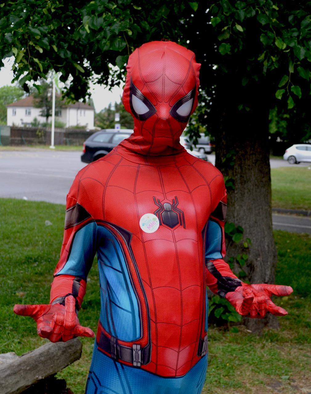 Runner dressed as spiderman