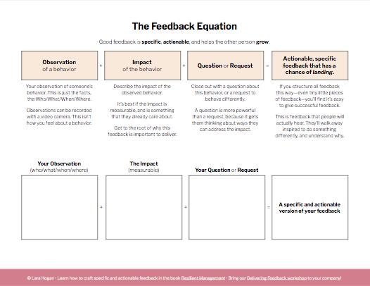 Screenshot of the Feedback Equation worksheet
