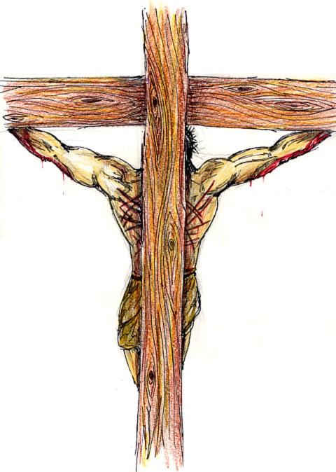 Jesús en la cruz, de espaldas