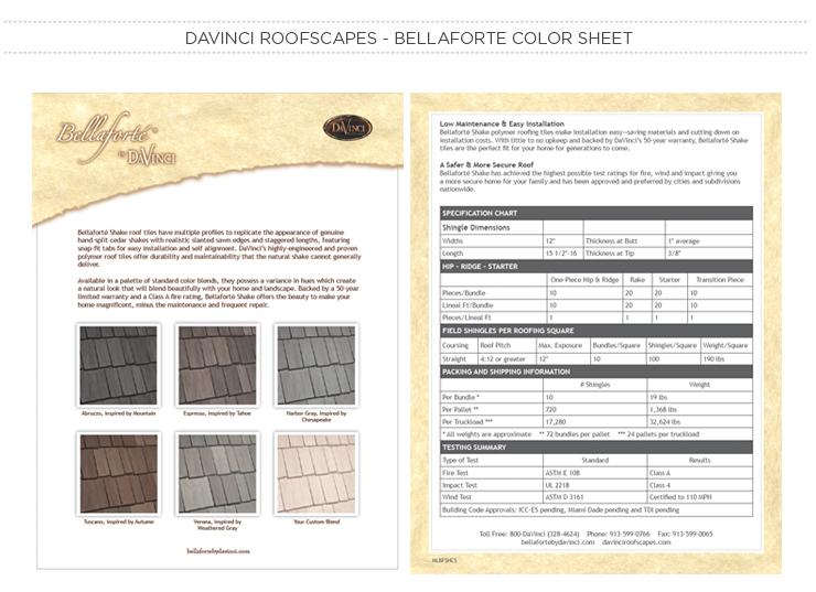 DaVinci Roofscapes - Bellaforte Color Sheet