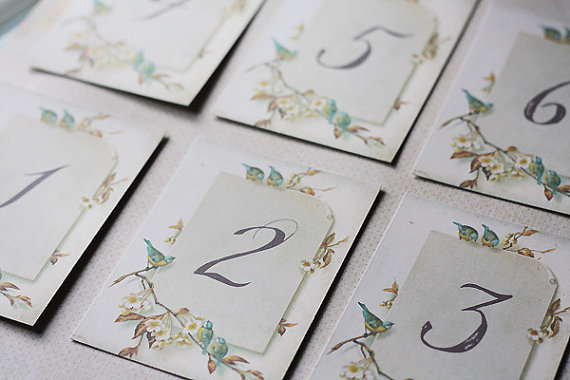 Vintage Paper & Birds Table Numbers
