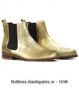 BOTTINES ÉLASTIQUÉES CUIR PAILLETÉ OR -169,00 €