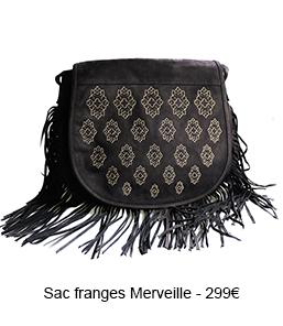 Sac cuir noir franges Merveille - 299€