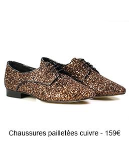 Chaussures pailletées en cuivre - 159€