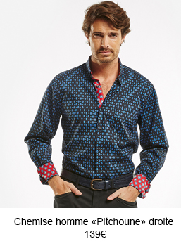 """Chemise homme droite """"Pitchoune"""" bleue"""