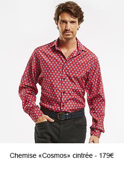 "chemise homme cintrée ""cosmos"" rouge - 179 €"