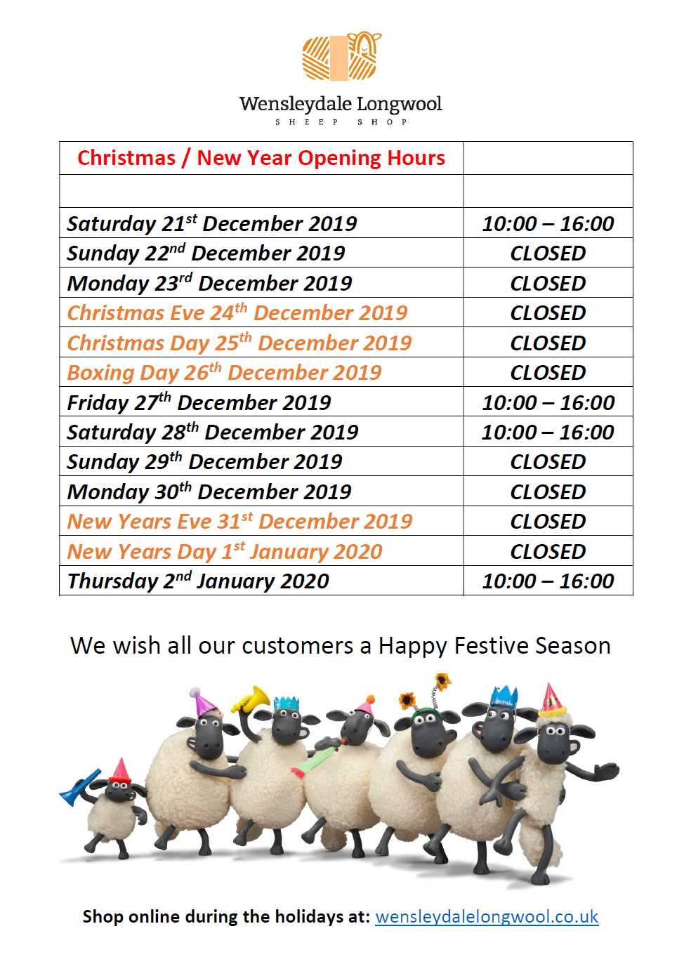 christmas new year shop opening hours 2019