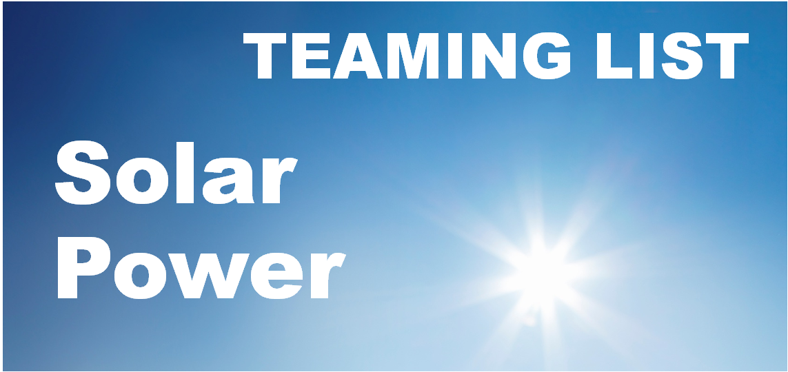 Solar Power Teaming List graphic