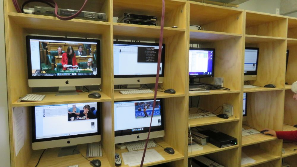 Bank of computers capturing broadcast television