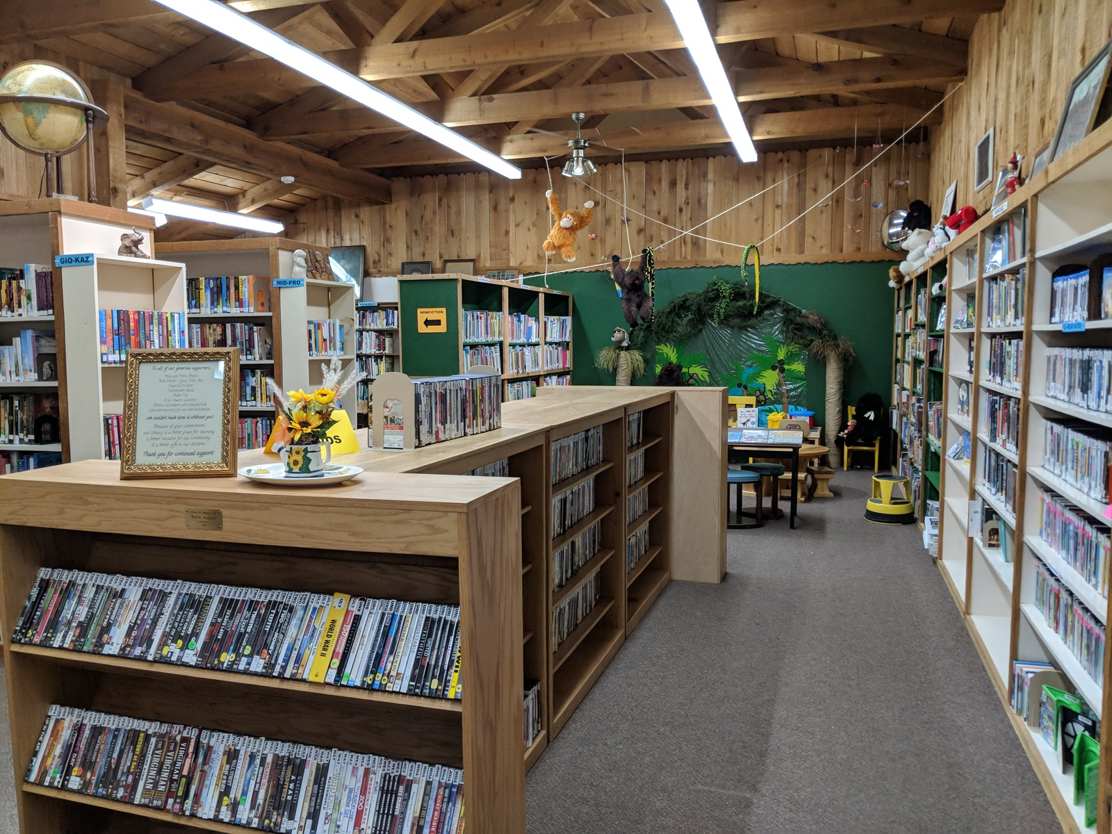 library room with shelves of books