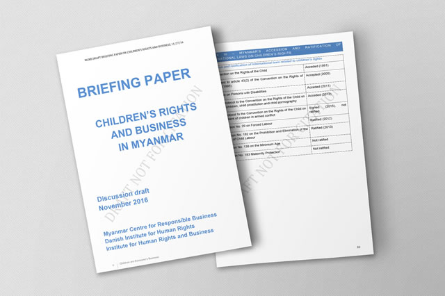 Children's Rights and Business in Myanmar