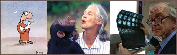Michael Leunig cartoon; Jane Goodall (photo by Michael Neugebauer); Henry Marsh (photo by G Smith)