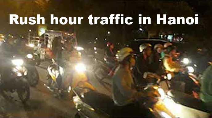 Rush hour traffic in Hanoi