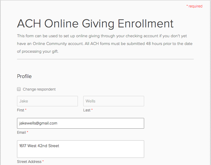 ACH Secure Form