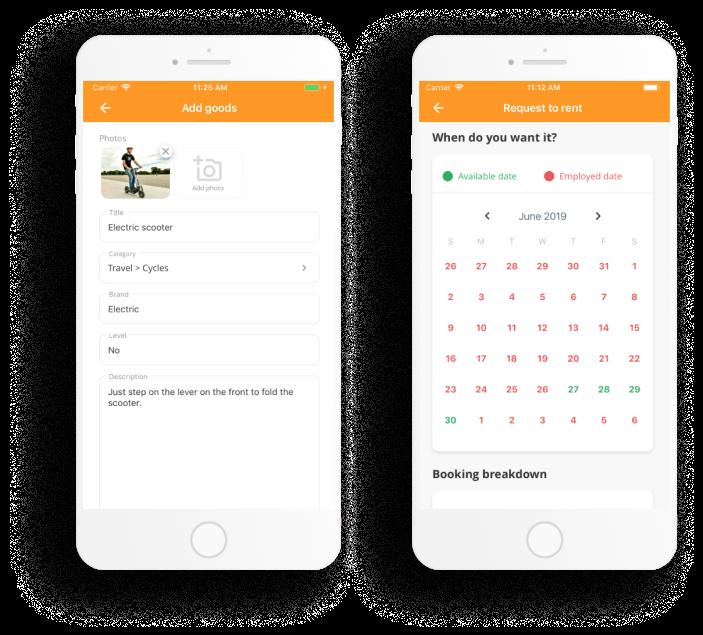 Apiko's mobile Flex template: listing creation and booking calendar
