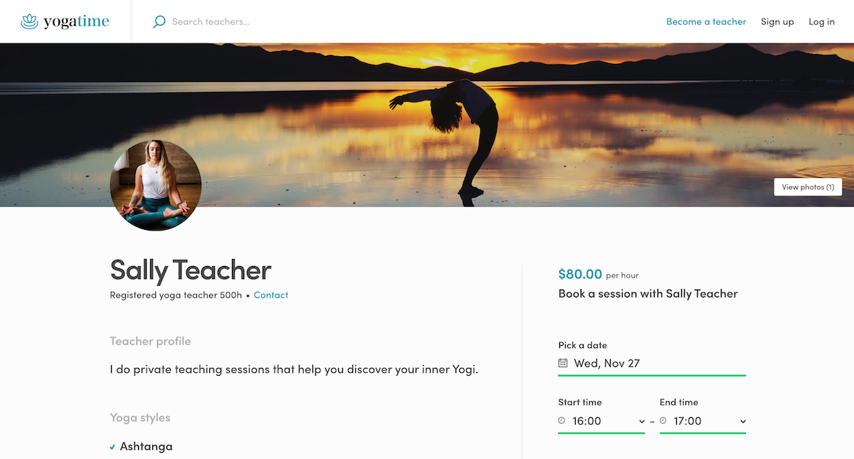 FTW-hourly: Yogatime listing page with hourly booking.