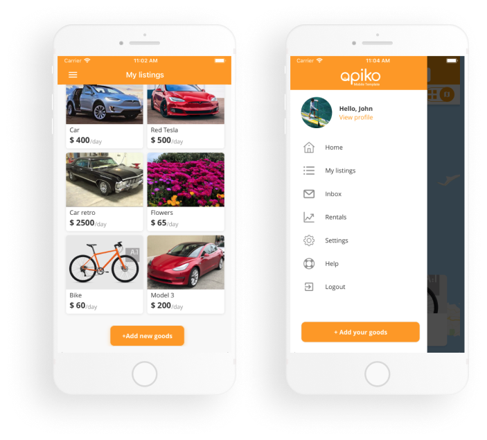 Apiko's mobile Flex template: listings view and side bar
