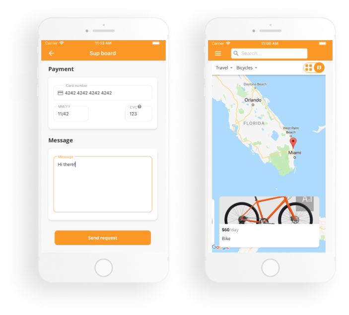 Apiko's mobile Flex template: booking and map view