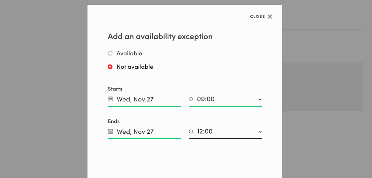 FTW-hourly: How to add availability exceptions on Yogatime.
