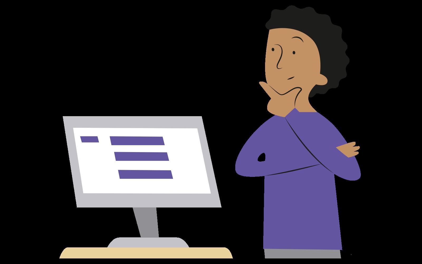 En person i lila tröja står med fundersam min framför en dator (illustration)