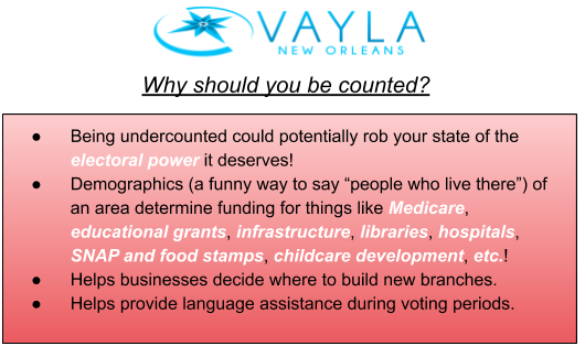 """digital graphic with bullet points reading: VAYLA new orleans why should you be counted? being undercounted could potentially rob your state of the electoral power it deserves! demographics (a funny way to say """"people who live there"""") of an area determine funding for this like Medicare, educational grants, infrastructure, libraries, hospitals, SNAP and food stamps, childcare development, etc.! helps businesses decide where to build new branches. helps provide language assistance during voting periods."""