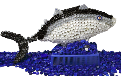 fish made from plastic bottle caps