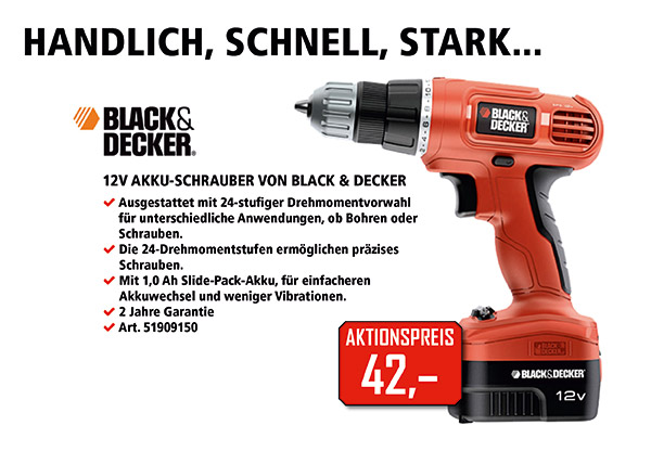 Handlich, schnell, stark: Akku-Schrauber von Black&Decker