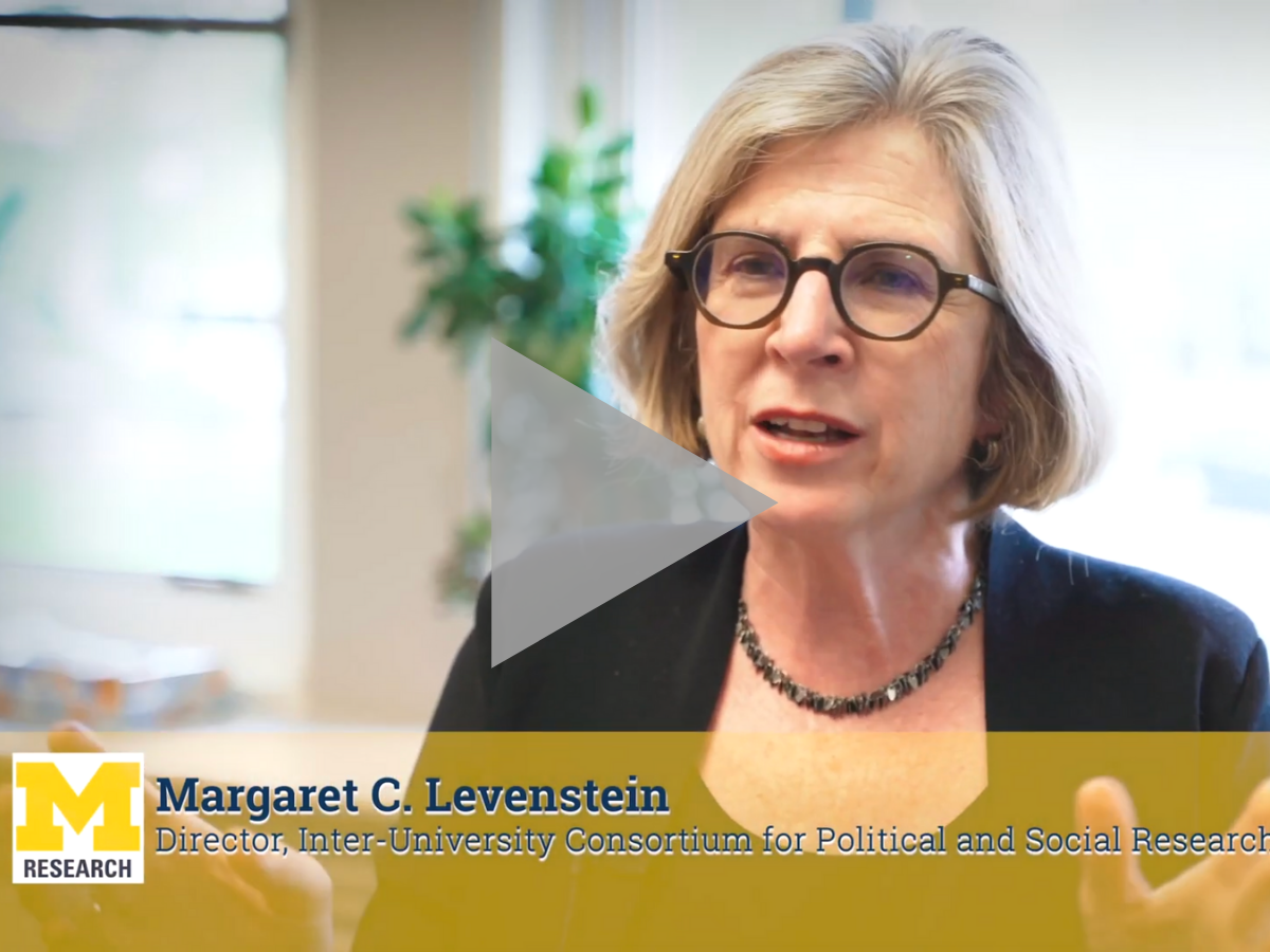 Margaret C. Levenstein is shown in video on data equity project