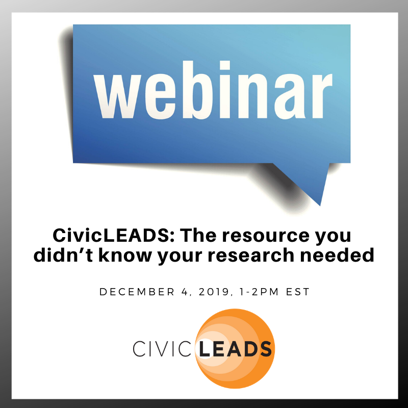Webinar about CivicLEADS December 4, 2019, 1 to 2 pm EST