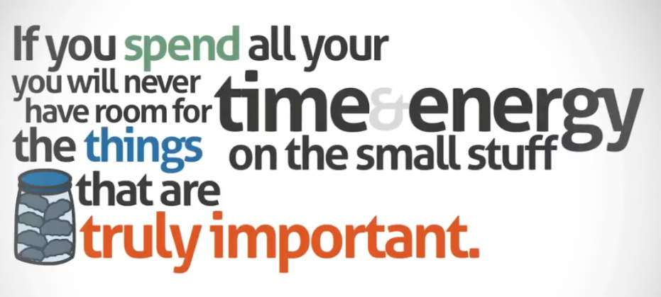 If you spend all your time & energy on the small stuff you will never have room for the things that are truly important.