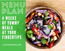 a colorful bowl of vegetables with the slogan MENU PLAN