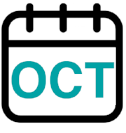 Calendar graphic displaying the month of OCT