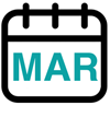 Calendar graphic showing current month: March