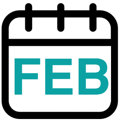 calendar graphic with FEB showing