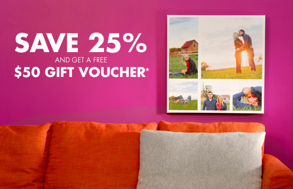 Save 25% and get a free $50 gift voucher